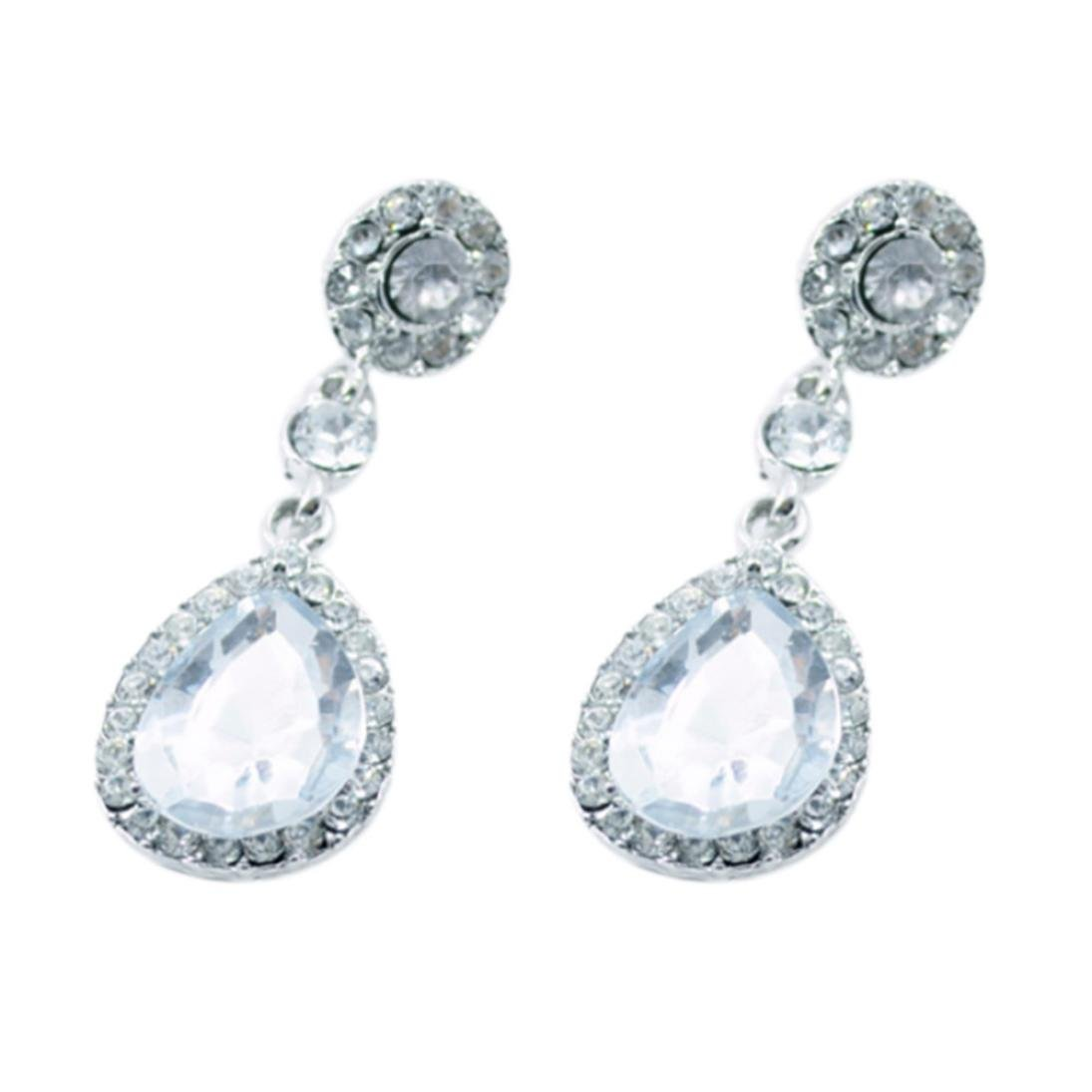 Minshao 1Pair Women Drop Shape Alloy Ear Stud Imitation Crystal Earrings Jewelry (White)