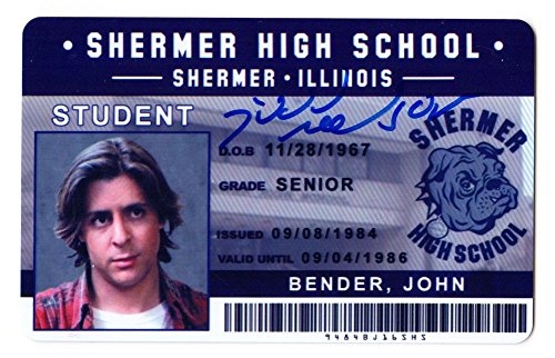 Judd Nelson Autographed/Signed The Breakfast Club John Bender Shermer High School ID Card - Authentic Signature