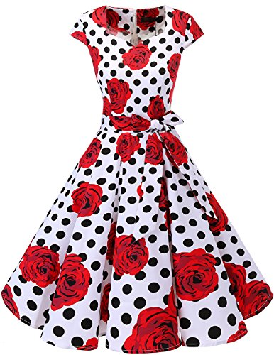 DRESSTELLS Retro 1950s Cocktail Dresses Vintage Swing Dress with Cap-Sleeves White Red Rose Dot XL