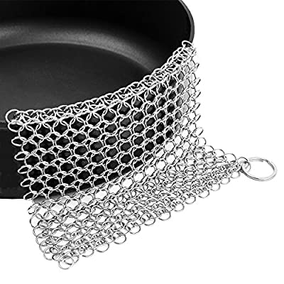 "Cast Iron Cleaner Stainless Steel Chainmail Scrubber 6""X8"" Cookware Cleaner Joanbete for Skillet, Pan, Pot,Wok, Griddle, Waffle Iron, Pans Scraper, Cast Iron Grill, Skillet Scraper,Frying Pan,Dutch"