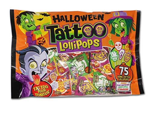 Halloween Assorted Flavor Tattoo Lollipops, 75 Count