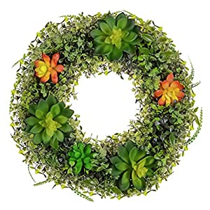 GoGreen Spring Wreaths for Front Door - Artificial Succulent Plants Wreath for Front Door, Wall, Farmhouse, Boxwood Home Decor. 92