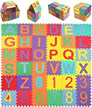 Ocamo Child Cartoon Letters Numbers Foam Play Puzzle Mat Floor Carpet Rug for Baby Kids Home Decoration 36 PCS