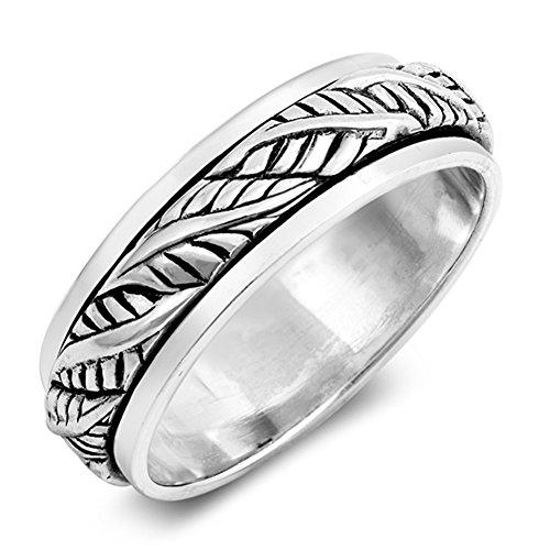 (Antiqued Leaf Spinner Nature Vintage Ring .925 Sterling Silver Band Size 10)