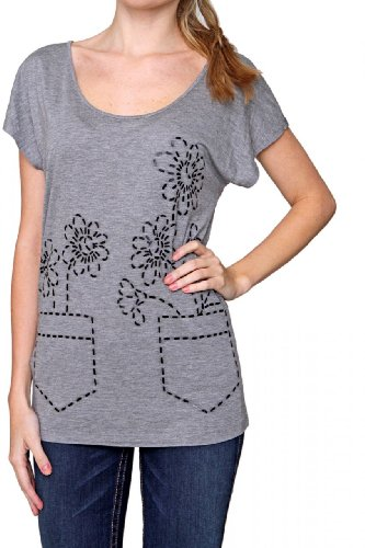 Love Moschino Sleeveless T-Shirt FLOWERS, Color: Grey, Size: 34