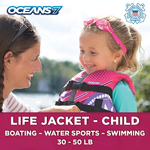 - New & Improved Oceans7 US Coast Guard Approved, Child Life Jacket, Flex-Form Chest, Open-Sided Design, Type III Vest, PFD, Personal Flotation Device, Pink/Berry