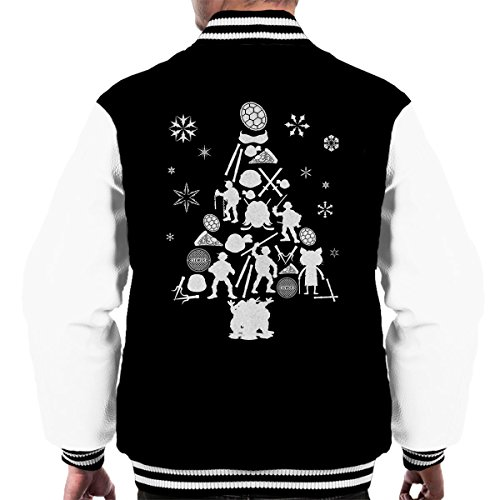 Silhouette Ninja Black Mutant Christmas white Tree Teenage Men's Turtles Jacket Varsity qX5HBxw