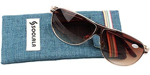 SOOLALA Mens Moore Aviator Nearly Invisible Line Bifocal Sunglasses with Readers, Tea, - Cheap Sunglasses Bifocal