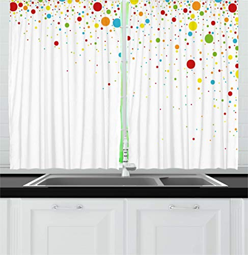 Ambesonne Colorful Kitchen Curtains, Small Dots Like Party Confetti Celebration Print on White Backdrop Retro Style Art, Window Drapes 2 Panels Set for Kitchen Cafe, 55 W X 39 L Inches, Multicolor