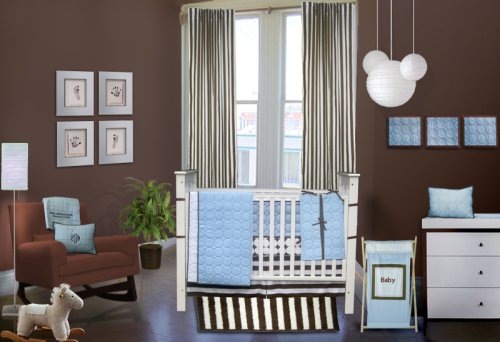 Bacati - Quilted Circles Blue and Chocolate 4 Piece Crib Set