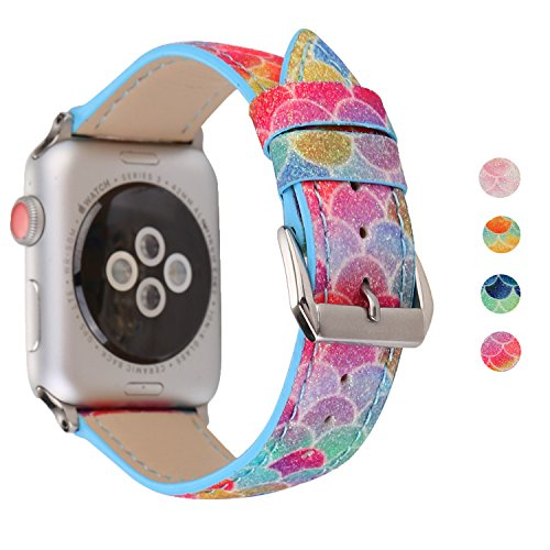 (PENKEY Leather Band Compatible with Apple Watch Band 38mm 42mm Strap Replacement, Wristband with Fish Scale Pattern Bracelet for iWatch Series 3,2,1 and Nike+ (Red Blue, 42mm))