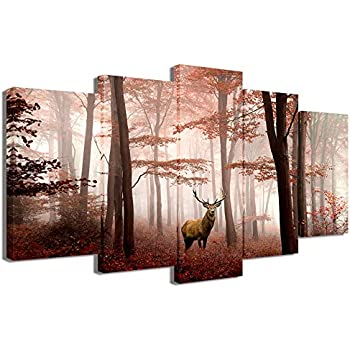 Visual Art Decor 5 Pieces Landscape Canvas Wall Art Deer in Misty Red Trees Forest Picture Animals Elk Prints Gallery Wrap Decoration for Modern Living Room Home Art (01 W-50 xH-24)