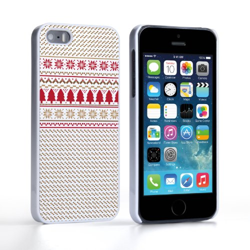 Caseflex iPhone 5 / 5S Case Brown / Red / White Christmas Knitted Snowflake Jumper Hard Cover