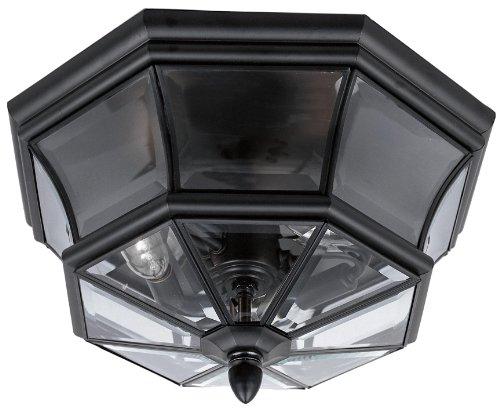 Quoizel NY1794K Newbury Outdoor Flush Mount Ceiling Lighting, 3-Light, 120 Watts, Mystic Black (8