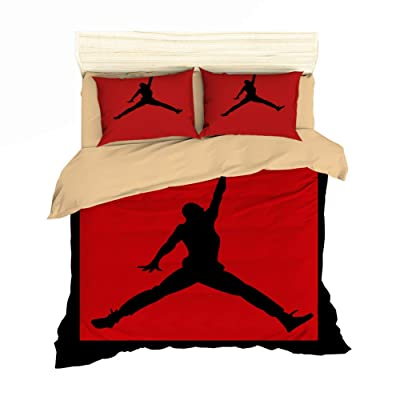 AMTAN 3D Basketball Duvet Cover Set Red and Black Bedding Set Kids Teenagers and Adults Bed Set 100% Polyester 1 Duvet Cover 2 Pillowcases Twin Full Queen King Size: Home & Kitchen