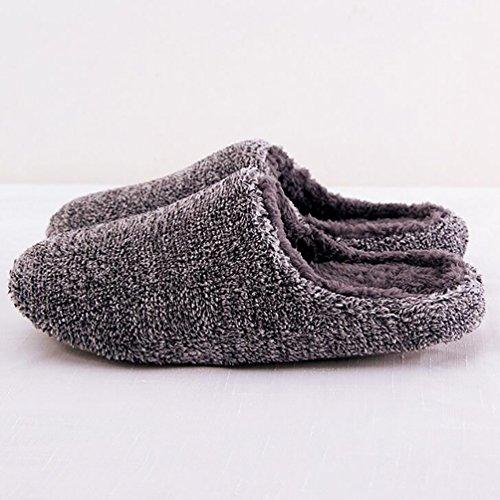 Baymate Unisex Slip-on Anti-Rutsch Hausschuhe Warm Indoor Pantoffeln Grau
