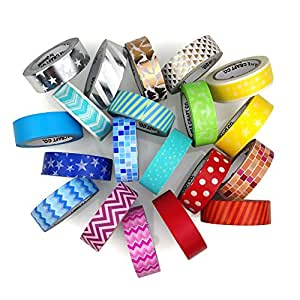 LittleCraftCo Premium Washi Tape Set - 20 Rolls. Create Unique Decorative Crafts + Beautify Bullet Journals or Planners Easily! Variety of Foil, Rainbow Colors and Patterns For Kids & Scrapbooking!