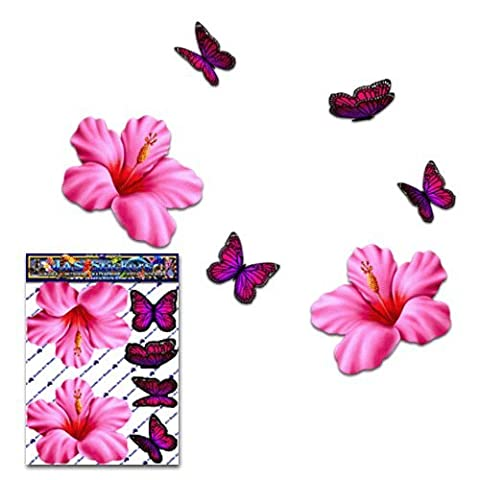 Flower Hibiscus Small Pink + Butterfly Animal Pack Car Stickers Decals - ST00023PK_SML - JAS Stickers
