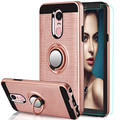 LG Stylo 4 Case,LG Q Stylus Case LG Stylo 4 Plus,Stylus 4 Case with HD Screen Protector,Anoke 360 Degree Rotating Ring Holder Kickstand Scratch Resistant Drop Protective Cover for Stylo 4 ZS Rose Gold - Embossed Lip Gold Inner
