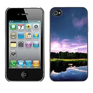 PC/Aluminum Funda Carcasa protectora para Apple Iphone 4 / 4S Nature Beautiful Lake / JUSTGO PHONE PROTECTOR