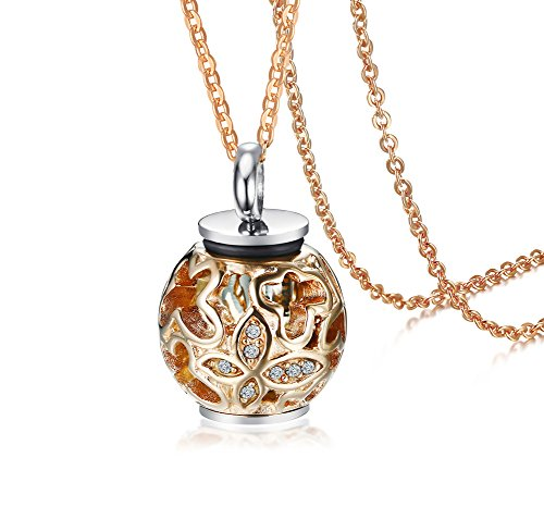 Stainless Steel Rose Gold Plated Delicate Filigree Crystal Ash Pendant Cremation Urn Necklace for Women (Gold Pet Crystals)