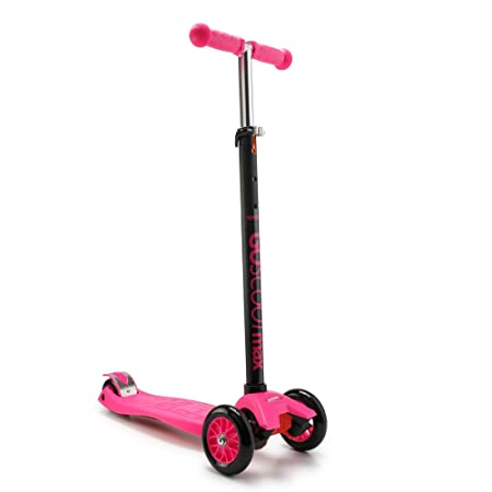 New Bounce GoScoot Max, 3 Wheel Kick Scooter for Kids Aged 3 by Portable Outdoor Toy with Adjustable Height for Toddlers and Older Children Deluxe Design for Girls Boys in Pink, Blue, Red