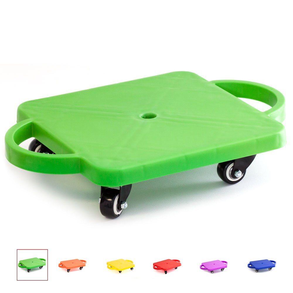 GSE Games & Sports Expert Kids Gym Class Plastic Scooter Board with Safety Guard Handles (Green)