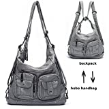 Mlife Soft Washed Leather Women Shoulder Bag Hobo Backpack (Grey)