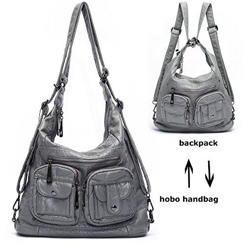 Mlife Soft Washed Leather Women Shoulder Bag Hobo Backpack (Grey) by Mlife
