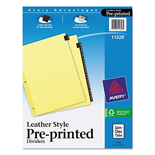 Leather Tab Index - Avery 11328 Preprinted Red Leather Tab Dividers w/Clear Reinforced Edge, 12-Tab, Letter