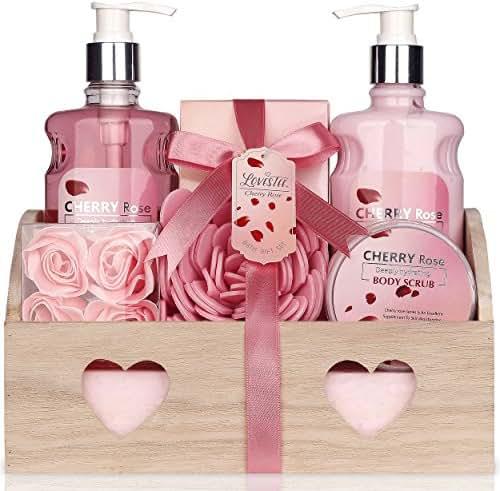 Valentine's Spa Gift Basket - Bath and Body Works Set Cherry Rose Scent For Women - Spa Bath Kit & Bath Gift Basket Birthday Gift includes Shower Gel, Body Lotion, Bath Salt, Body Scrub,Sponge & Soap