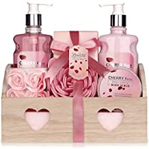 Relaxing Bath Spa Kit For Women, Men and Teens, Gift Set Bath And Body Works - Cherry Rose Aromatherapy Spa Gift Basket Includes Shower Gel, Body Lotion, Bath Salt, Body Scrub Eva Sponge, and Soap