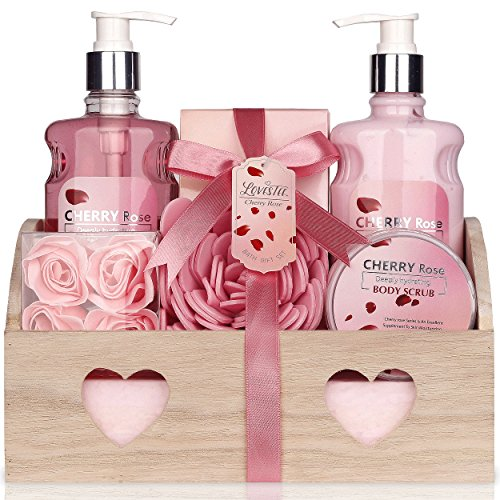 Bath and Body with Cherry Rose Fragrance by Lovestee - Bath Gift Basket Includes Shower Gel, Body Lotion, Bath Salt, Body Scrub Eva Sponge, And Pink Flower (Body Wash Gift)