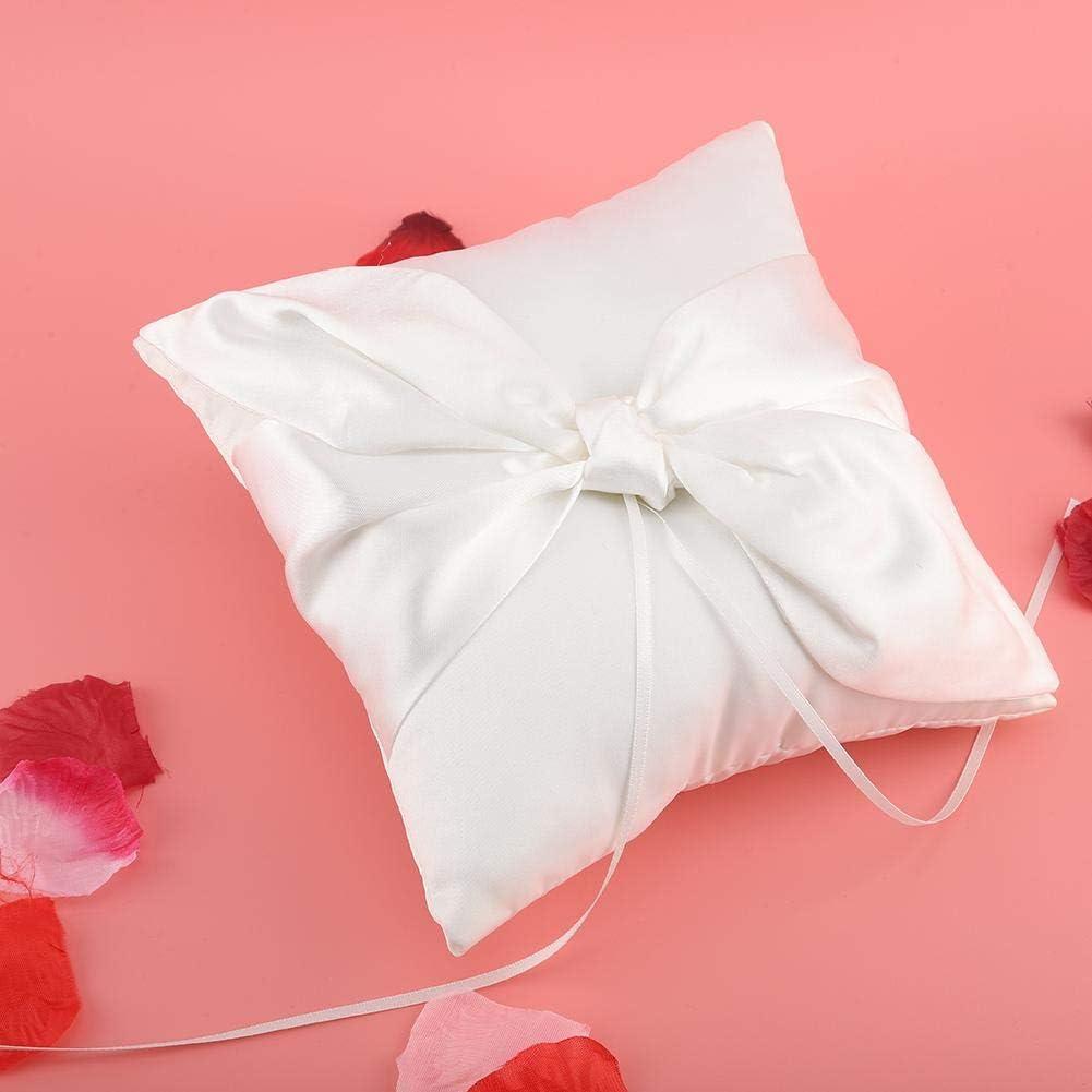 AUNMAS White Ring Bearer Kissen mit Satinschleifen B/ändern Romantische Hochzeit Ringkissen Hochzeit Verlobungsfeier Zubeh/ör