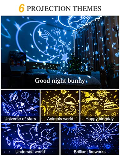 Night Light for Kids, Star Projector with 6 Sets of Film, 360 Rotating Light for Room Ceiling, Aesthetic Decor, Cute Gifts for 1-8 Year Old Girl or Boy, Built in Battery, Unicorn Toy, Portable, Pink
