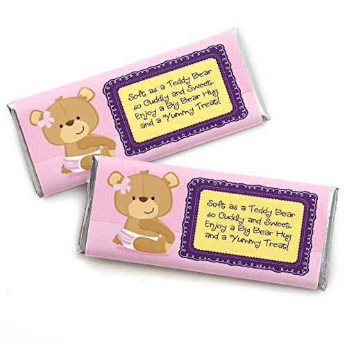 Girl Baby Teddy Bear - Candy Bar Wrappers Baby Shower Favors - Set of 24
