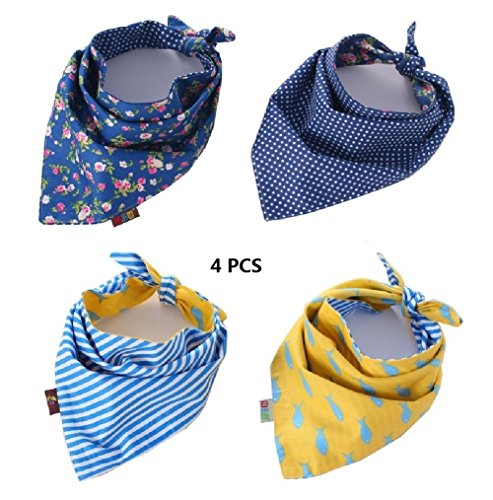 FUNPET 4 Pack Dog Bandana Triangle Bibs Scarfs Accessories for Pet Cats (Pet Bandana)