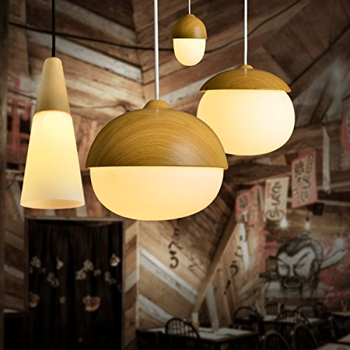 MASO Home, The Modern Elegance Style of Pendant Hanging Lamps, Natural Wood Color Based with Glass Shade Pendant Ceiling Light, Retro Industrial Lamp Vintage Unique Design (Chestnut Shape) by Maso Home (Image #3)