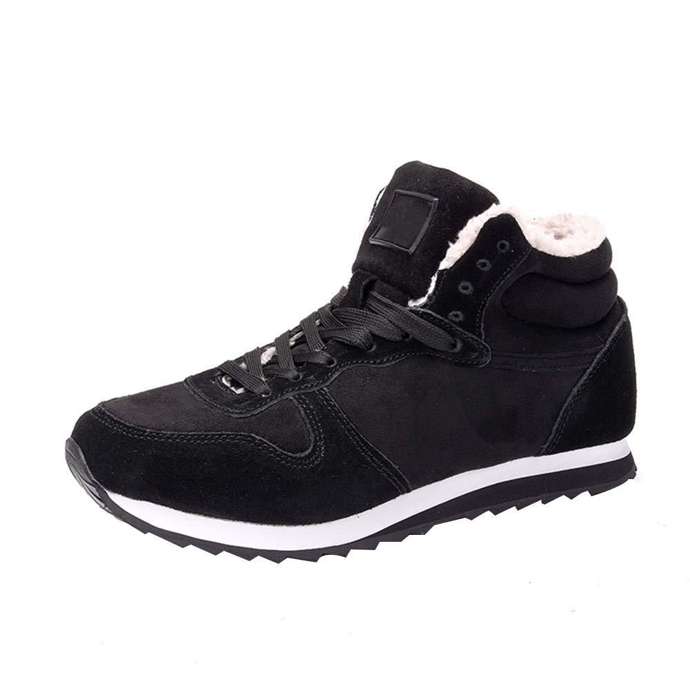 uirend Zapatillas Zapatos Hombre - Plano Invierno Forradas Zapatillas Botas Forradas de Nieve Sneaker Botines Planas Moda (Negro,38 EU =Etiqueta 39 CN)
