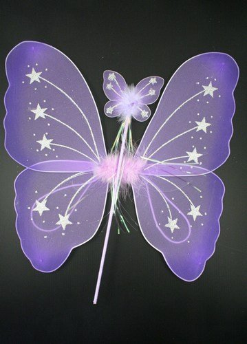 '' Purple '' Large Princess Fairy Wings With Matching Wand Great For Hen Nights by letechest (TM) Fairy Set