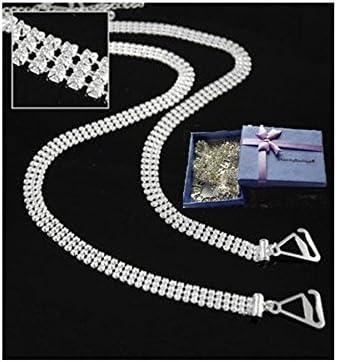 Adjustable 2pcs Double Rows Crystal Diamante Rhinestone Bra Shoulder Straps /_WA