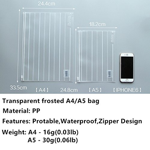 Zipper Pouch,10 pcs A5 and A4 Transparent PP Water Resistant Zipper File,ICASA, Frosted Zipper File Pocket Filing Envelope File Holder Bags Invoice Pouches, Include 5 x A5 and 5 x A4