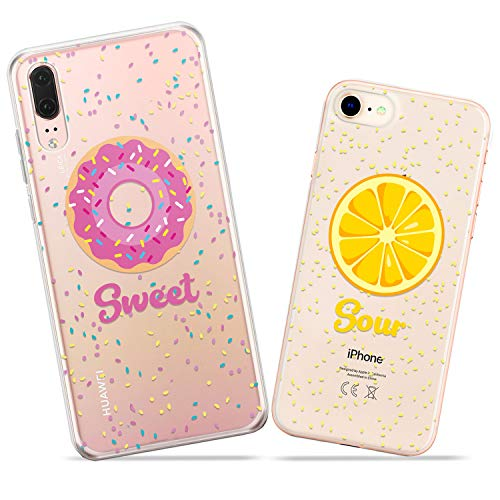 (Wonder Wild Sweet and Sour Pair Case iPhone Xs Max X Xr 10 8 Plus 7 6s 6 SE 5s 5 TPU Clear Gift Apple Phone Cover Print Protective Double)