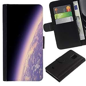 All Phone Most Case / Oferta Especial Cáscara Funda de cuero Monedero Cubierta de proteccion Caso / Wallet Case for Samsung Galaxy S5 Mini, SM-G800 // Earth Planet Atmosphere Purple Universe Cosmos