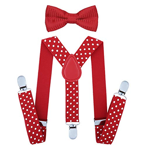 Child Kids Suspenders Bowtie Set - Adjustable Suspender Set for Boys and Girls (25Inches (5 Months to 6 Years),Red Polka dot) -