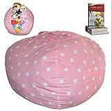 "EXTRA LARGE Stuffed Animal Storage Bean Bag Chair   Finest Storage, Hammock & Organizer for kids' Plush, Jumbo & Cuddly Toys   Premium Quality Cotton Canvas   Free E-Book 40"" (Pink)"