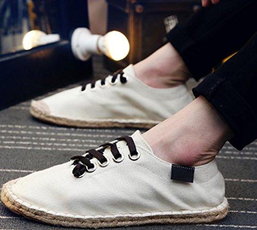 Satuki Tygskor För Män, Casual Dagdrivare Klassiska Spets Upp Mjuka Atletiska Lätta Mode Sneakers Benvita