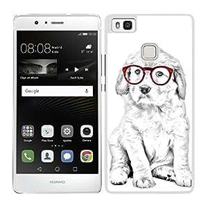funda carcasa para Huawei P9 Lite diseño perro cocker con gafas rojas borde blanco