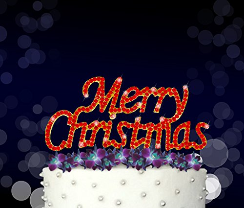 Merry Christmas, Xmas and Yuletide Season Cake Topper, Crystal Rhinestones on Gold Metal, Party Decorations, - Diy Favors Party Xmas