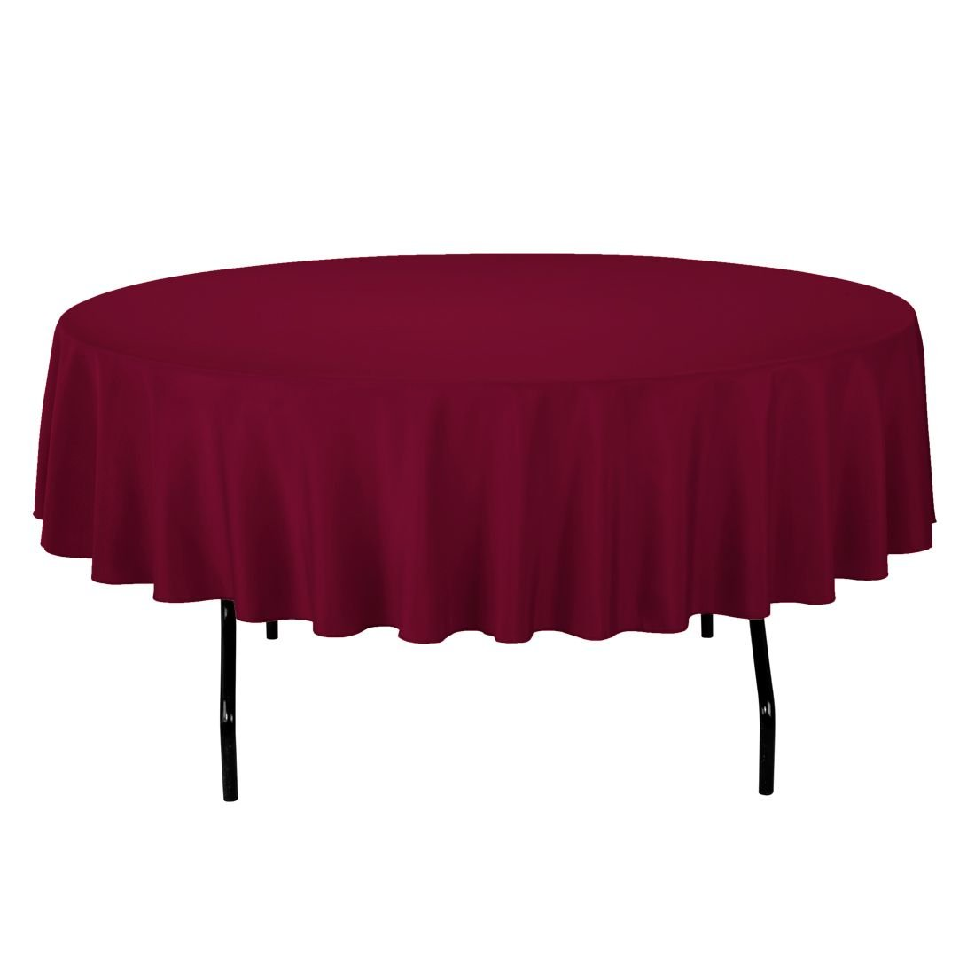 """Gee Di Moda Tablecloth - 90"""" Inch Round Tablecloths for Circular Table Cover in Burgundy Washable Polyester - Great for Buffet Table, Parties, Holiday Dinner & More"""